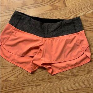 Neon orange speed shorts grey band